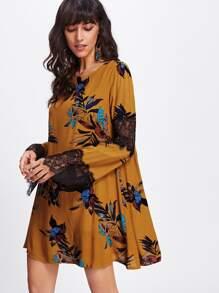 Contrast Scallop Eyelash Lace Dress