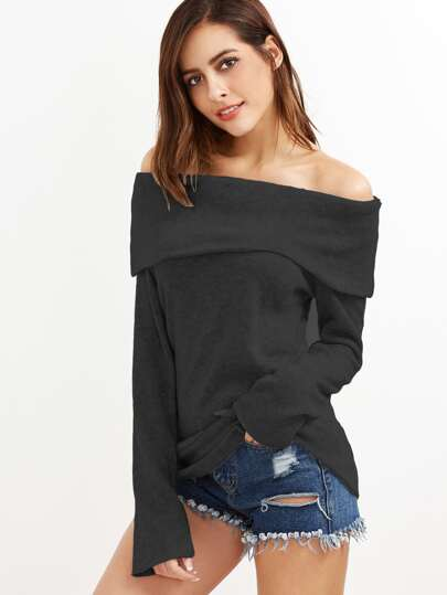 Off Shoulder Foldover Knit T-shirt
