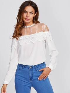 Mesh Yoke Tiered Scalloped Applique Blouse