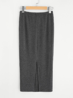 Vented Back Rib Knit Skirt
