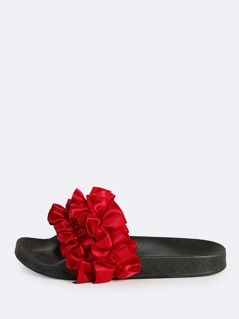 Satin Ruffle Slides RED
