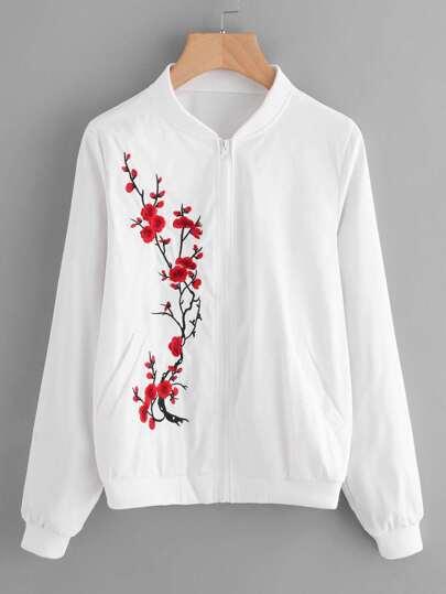 Plum blossom embroidered rib trim jacket shein sheinside