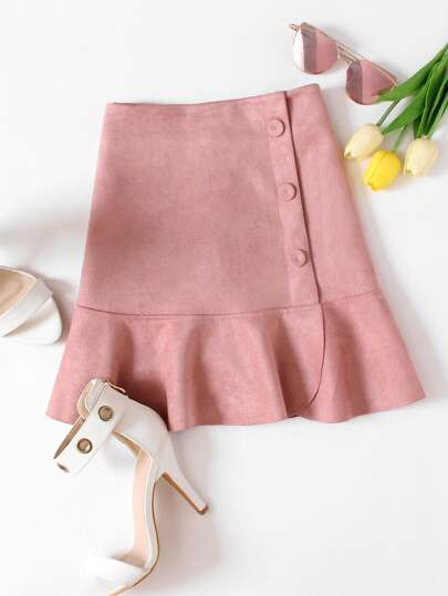 Ruffle Hem Single Breasted Suede Skirt