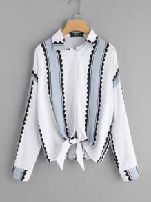 Button Up Knotted Hem Shirt