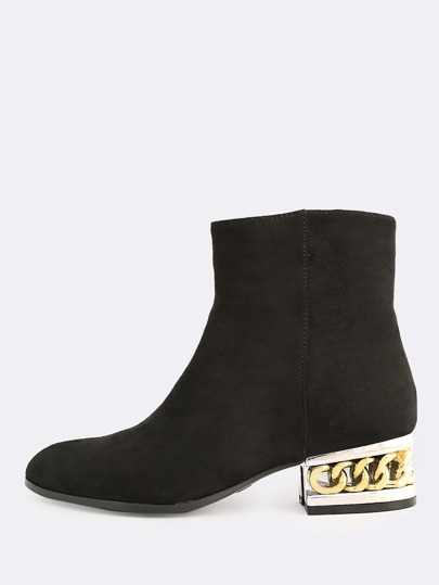 Chain Heel Faux Suede Boots BLACK