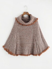 Faux Fur Trim Cape Sweater
