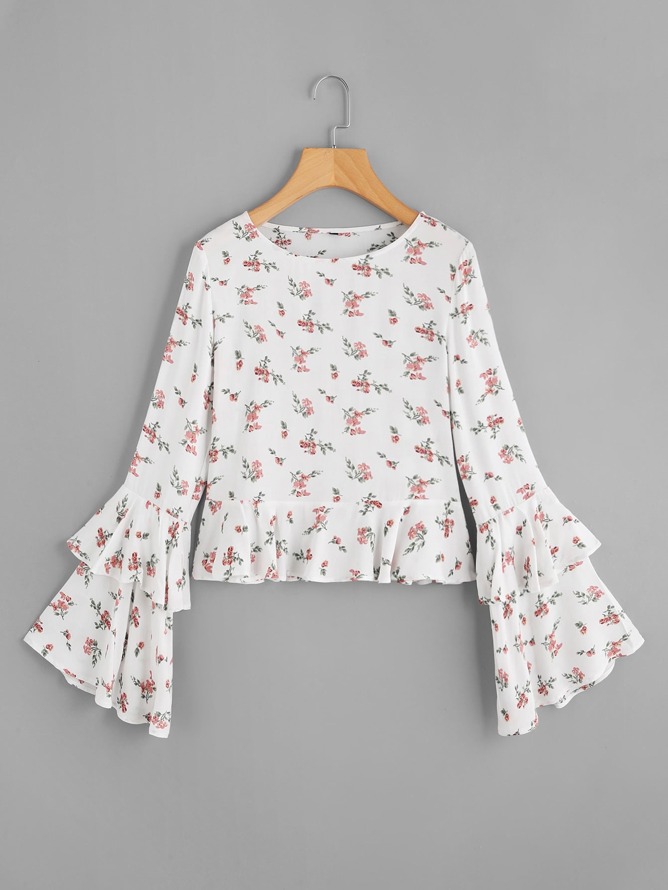 Layered Fluted Sleeve Ditsy Top oblique shoulder layered frill ditsy top