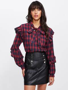 Tie Neck Ruffle Trim Plaid Blouse