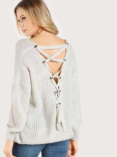 Back Lace Up Ribbed Sweater GREY