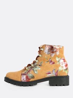 Metallic Floral Print Combat Boots CAMEL