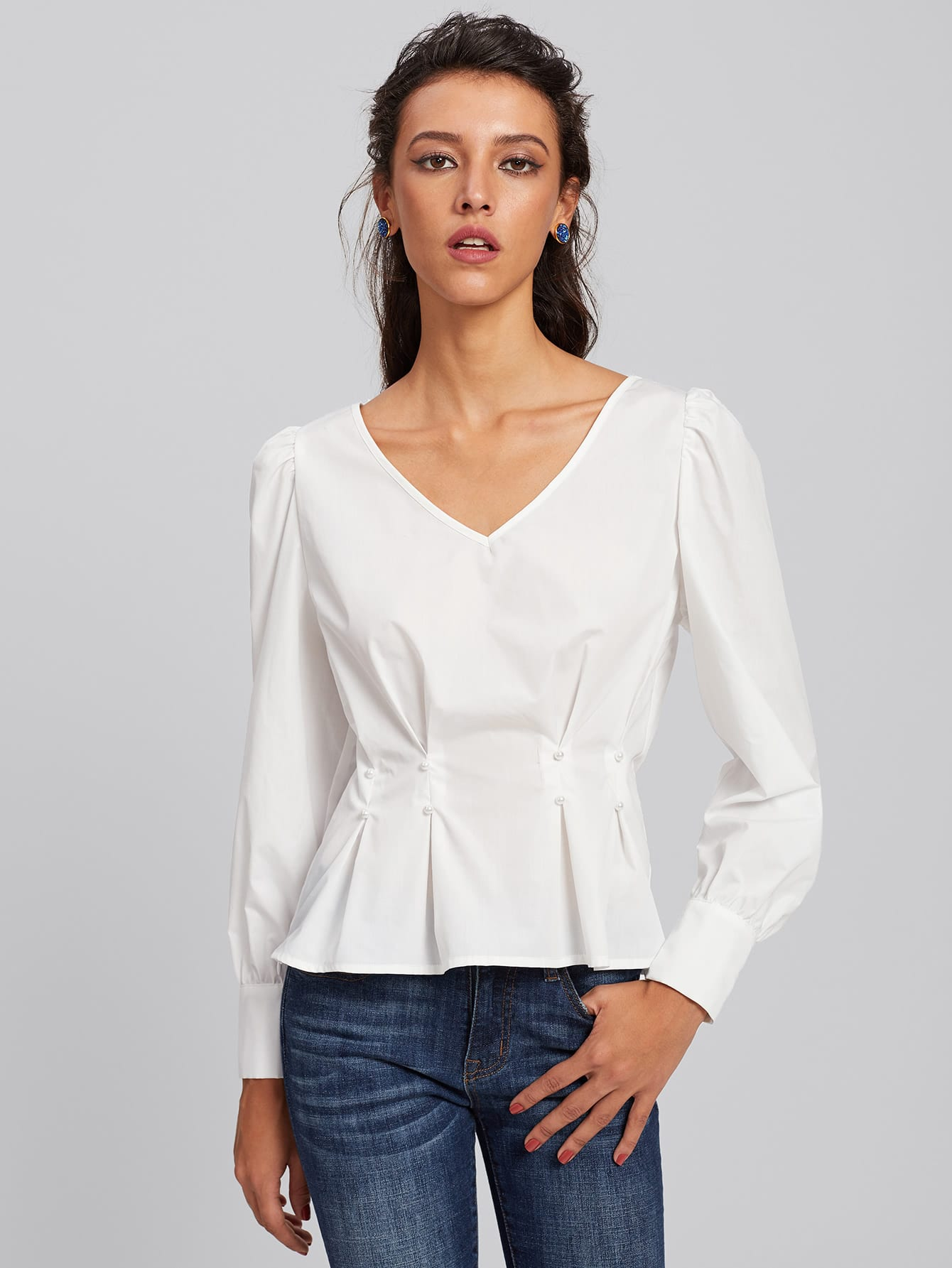 Bow Back Pearl Beaded Detail Peplum Top pearl detail layered frill sleeve top