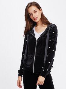 Pearl Beaded Velvet Hoodie Jacket