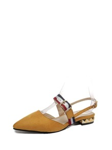 Striped Detail Pointed Toe Flat Shoes