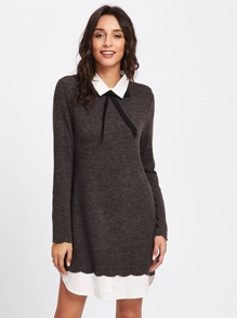 Scalloped Curved Hem 2 In 1 Dress
