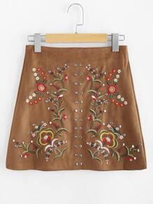 Studs Detail Embroidered Suede Skirt