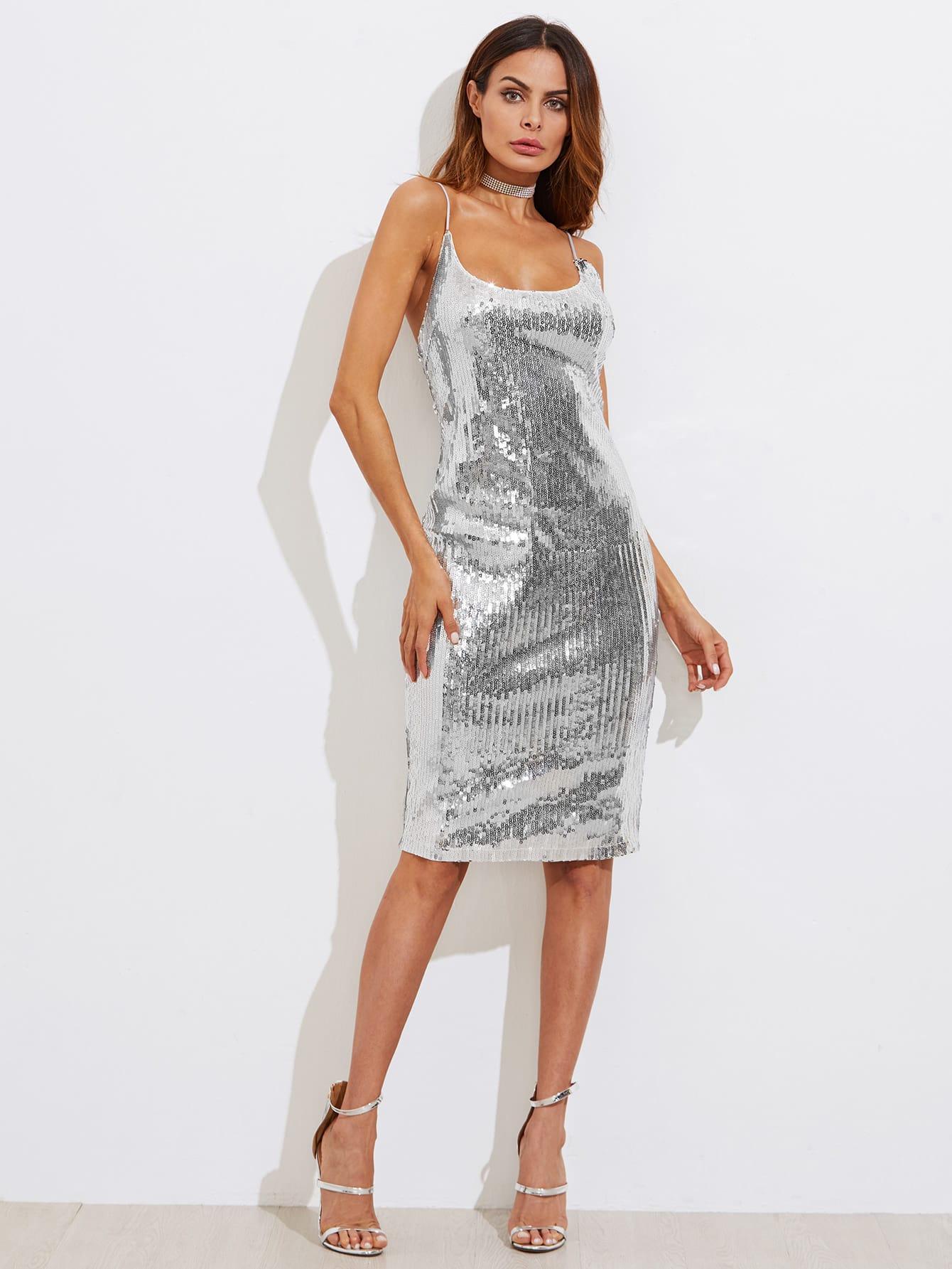 Metallic Sequin Slit Back Cami Dress high slit hanky hem metallic halter dress
