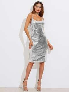 Metallic Sequin Slit Back Cami Dress