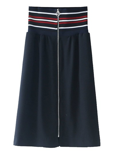 Striped Waist Band Zipper Up Skirt