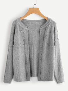 Pearl Beading Cable Knit Cardigan