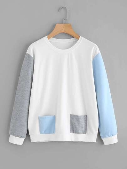 Contrast Sleeve Dual Pocket Sweatshirt