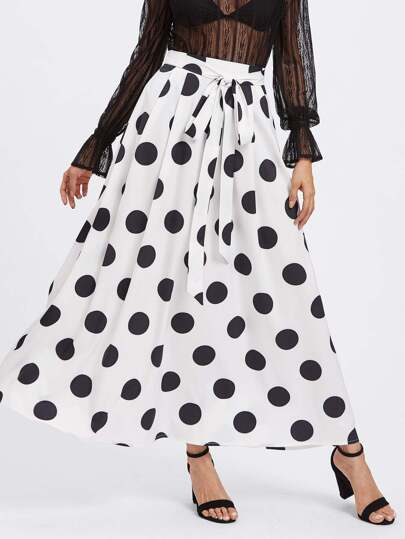 Self Tie Pleated Polka Dot Skirt