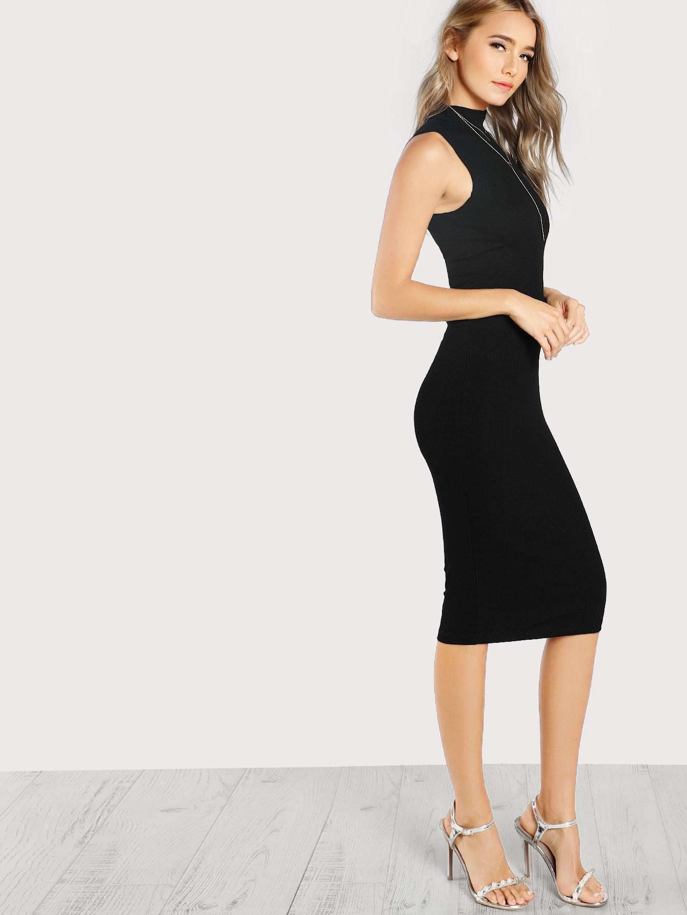 High Neck Rib Knit Sleeveless Bodycon Dress