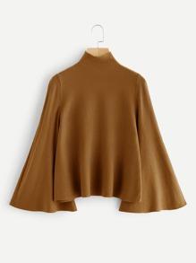 Mock Neck Bell Sleeve Jersey Sweater