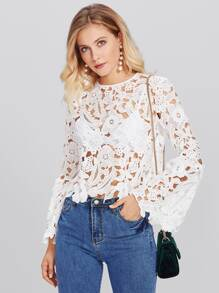 Hollow Out Flower Lace Top