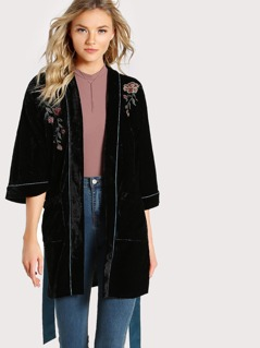 Embroidered Floral Pocketed Velvet Robe BLACK
