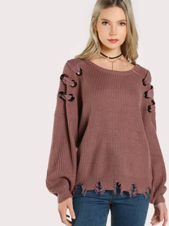 Distressed Long Sleeve Grommet Sweater MAUVE