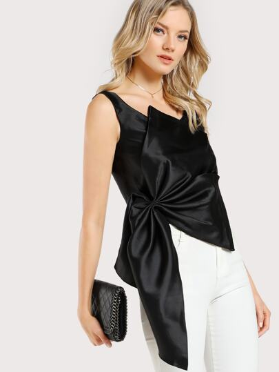 Front Bow Satin Crop Top