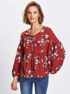 Exaggerated Lantern Sleeve Printed Smock Top