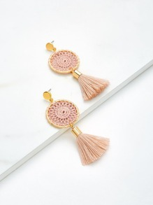 Round Top Tassel Drop Earrings
