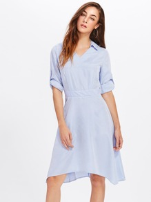 Roll Tab Sleeve Pinstripe Dress