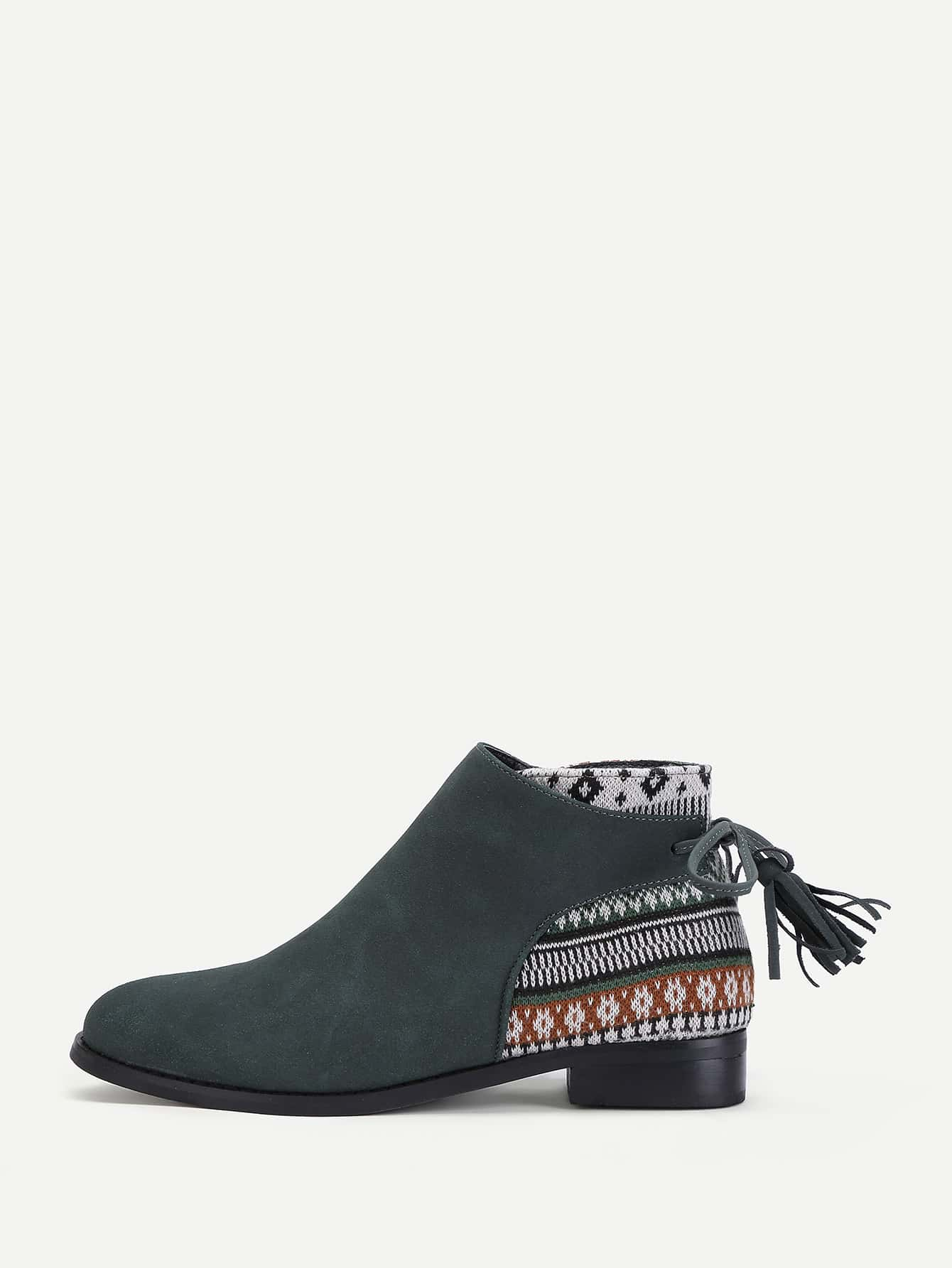 Tassel Tie Tribal Print Ankle Boots