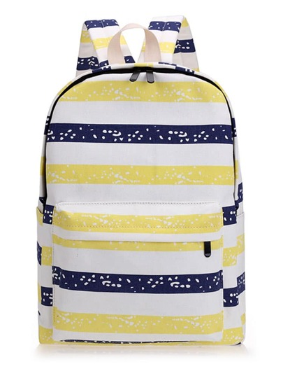Contrast Striped Space Print Backpack