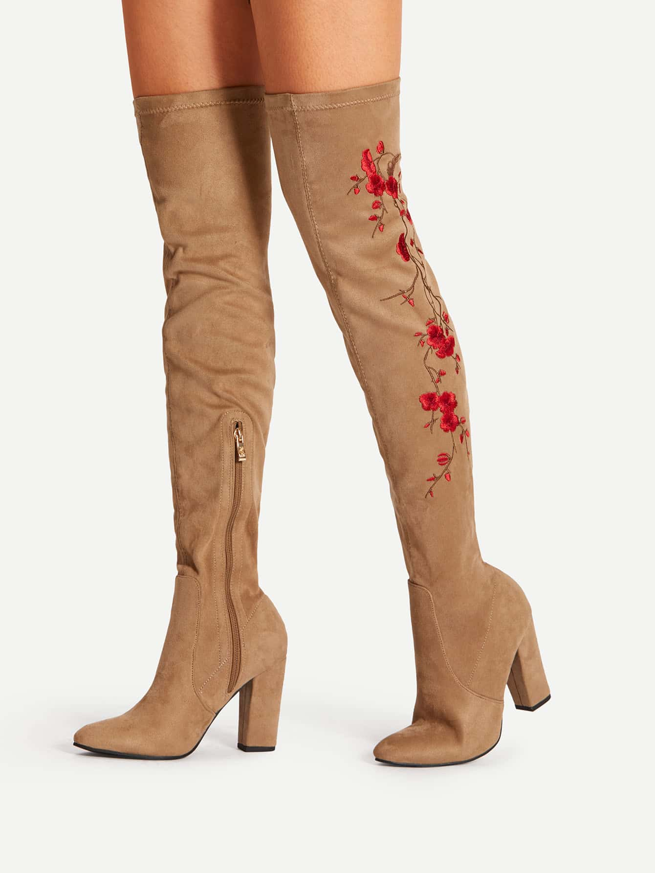 Floral Embroidery Block Heeled Over The Knee Boots heeled chelsea boots