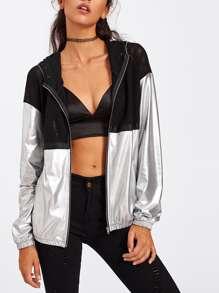Metallische Jacke mit Netz