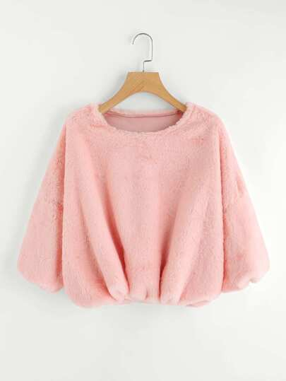 Lantern Sleeve Crop Faux Fur Pullover