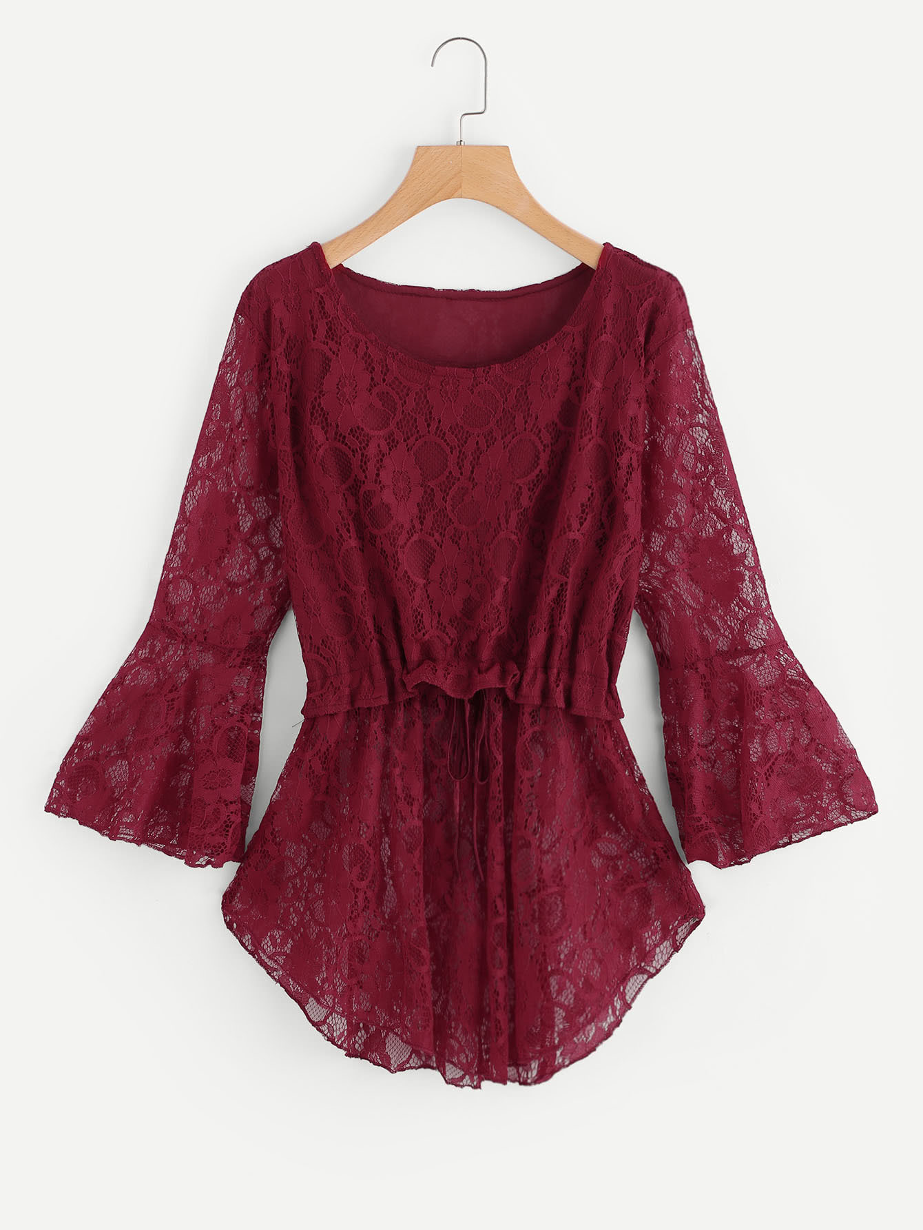 Floral Lace Flute Sleeve Drawstring Pep Hem Blouse ruched sleeve dolphin hem floral blouse
