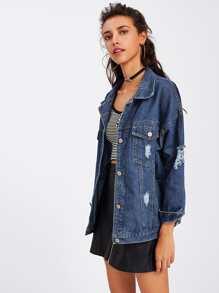 Jeans Jacke mit Rissen und sehr tief angesetzter Schulterpartie