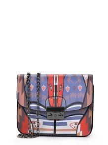 Colorblock Metal Detail Flap Chain Bag