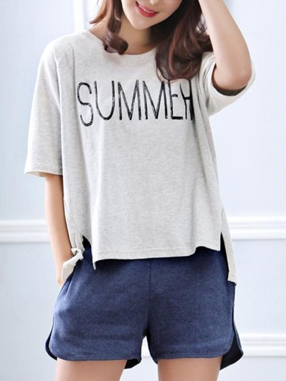Letter Print Top Slit Short Pajama Set
