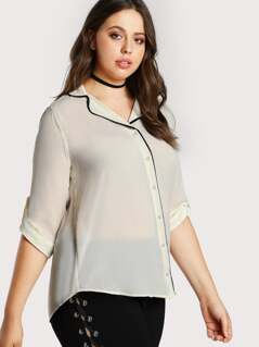 Contrast Piped Button Down Top