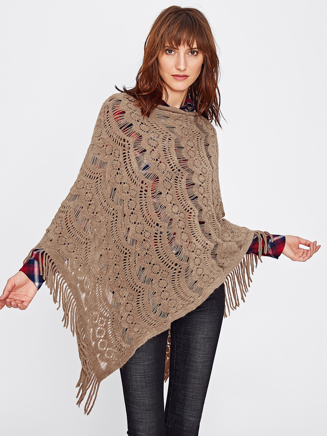 Hollow Out Fringe Poncho Sweater hollow out plus size poncho sweater