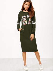Varsity Print Slit Back Zipper Sweatshirt Dress