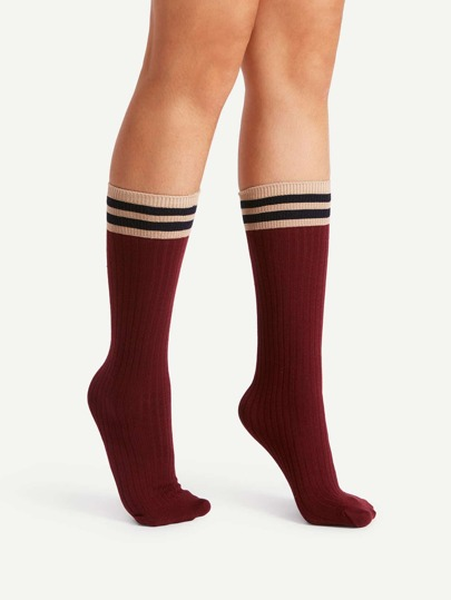 Striped Trim Calf Length Socks