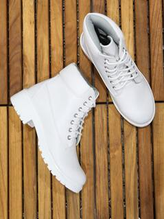 Workmans Lace Up Boots WHITE