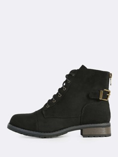 Laced Combat Boots BLACK
