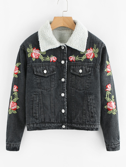 Faux Fur Lined Flower Embroidered Denim Jacket